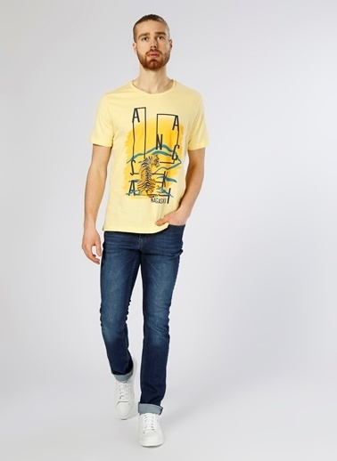 T-Box Baskılı Tişört Sarı
